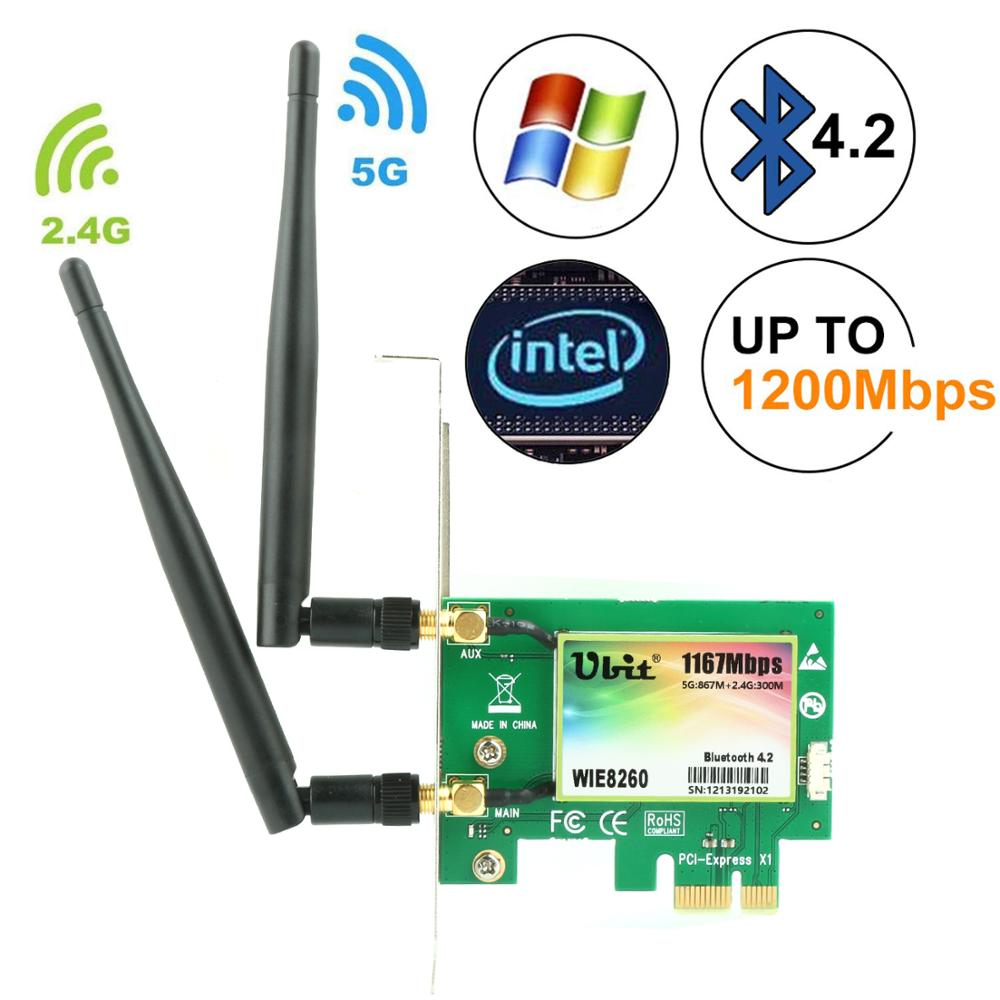 PCI-E Dual 867Mbps+ Bluetooth 4.2 Network Card for Intel 8260AC Wireless Network Card Complies with IEEE 802.11AC Standard 2.4G //5G Dualband