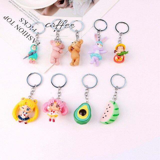 1Pc Cute Simulation Fruit Keychain Cartoon Anime Keyring For Women Girl Jewelry Car Handbag Key Holder Decoration Gifts