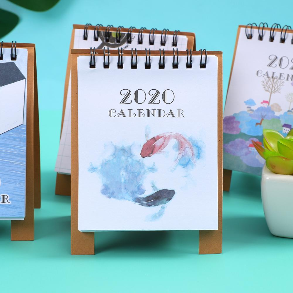 JIANWU 2019 2020 Cute Cartoon Animal Mini Desk Calendar School Office Planner Kawaii Agenda Table Calendar