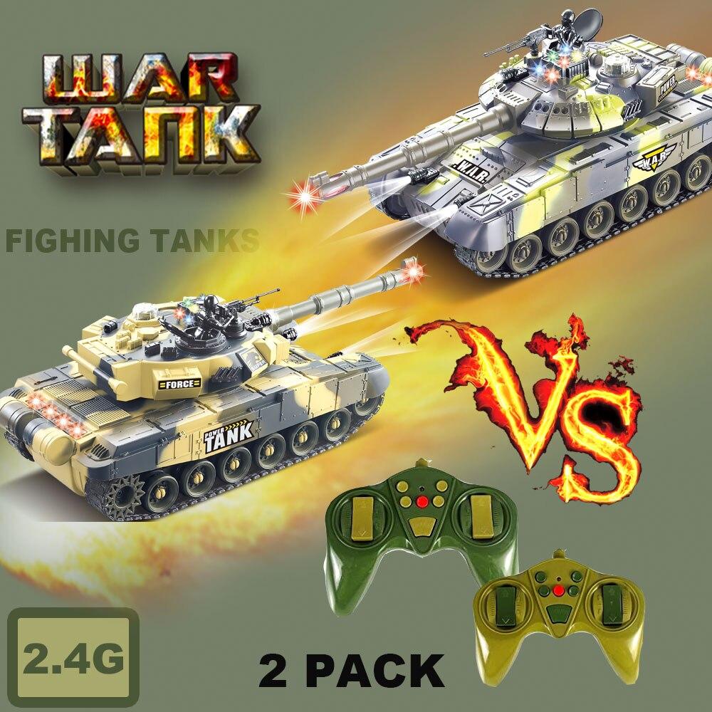 2 шт RC танки 2,4G боевые танки с долгосрочность СИД показатели реалистичные звуки дистанционного Управление, Детские кубики, игрушки для маль...