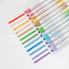 Ensemble de stylos surligneurs de couleur magique 12 pièces, stylo marqueur effaçable fluorescent double face pour dessin, papeterie de bureau et d'école