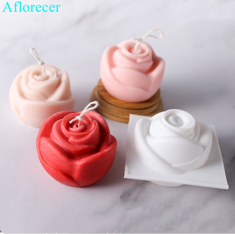3D Rose Flower Candle Soap Mold Silicone Mould DIY Handmade Chocolate Cookie Baking Clay Crafts Tray Homemade Making Mold Tools