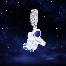 WOSTU New Design Astronaut Dangle Charms 925 Sterling Silver Clear CZ Bead Fit Original Bracelet Silver Jewelry Making FIC1147(China)