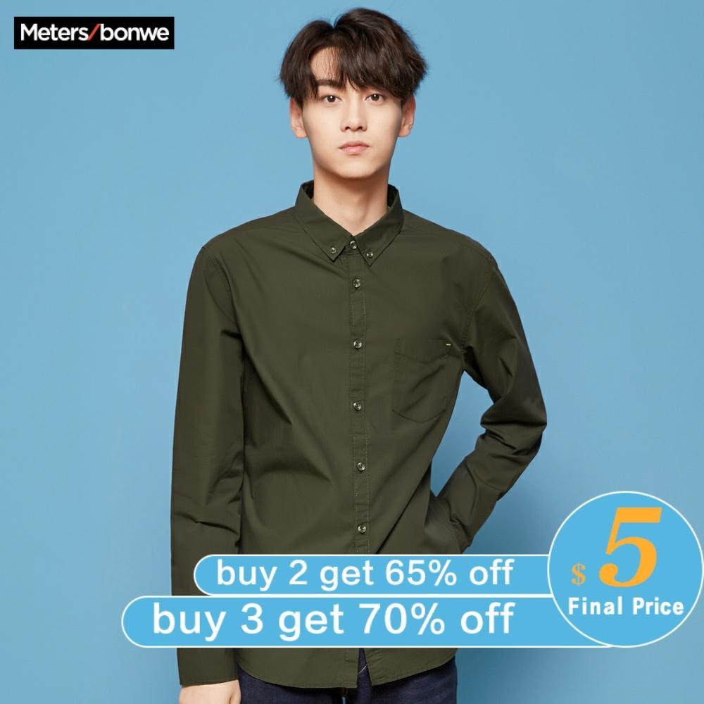 Metersbonwe Brand Men Olive Green Shirts  Spring Autumn Male Slim Long Sleeve shirts regular Cotton Male Basic tops 1