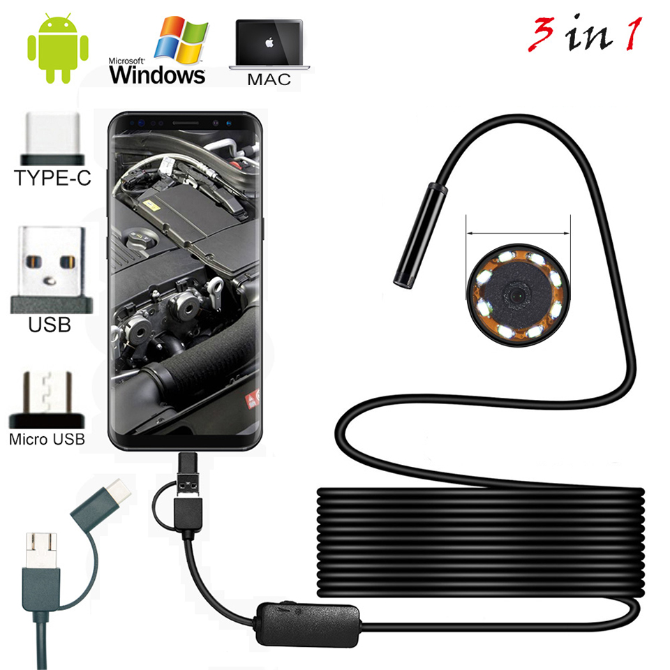 3 In 1 7mm Endoscope Mini Camera Flexible IP67 Waterproof Inspection Borescope Camera For Android Type-C/USB 6LEDs Adjustable