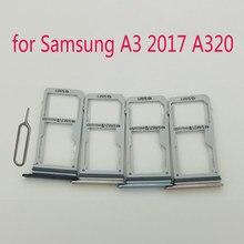 Suporte adaptador para cartão samsung galaxy, bandeja, para celulares samsung galaxy a3 2017 a320 a320f a320y, original ranhura ura