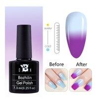 BOZLIN Thermische Gel Polnischen 2 Farben Wechselnden UV Gel Polnischen Nail art Tränken Weg Von Semi Permanent Temperatur Farbwechsel Serie