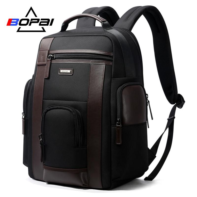BOPAI New Black Multi Pocket Men Backpack Business Solid Nylon Men Daypacks Mochila Bags Convenient USB Charging Backpack Women