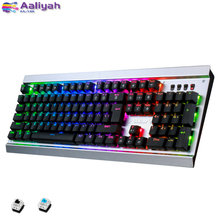 Игровая механическая клавиатура зеленый переключатель Проводная клавиатура СВЕТОДИОДНЫЙ Красочный дышащий водонепроницаемый для ноутбука Настольные ПК игровые клавиатуры
