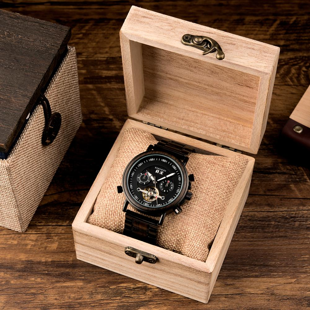 BOBO BIRD Couple Automatic Watches Wooden Stainless Steel Business Sport Mechanical Watch for Man Dropshipping Personal Custom