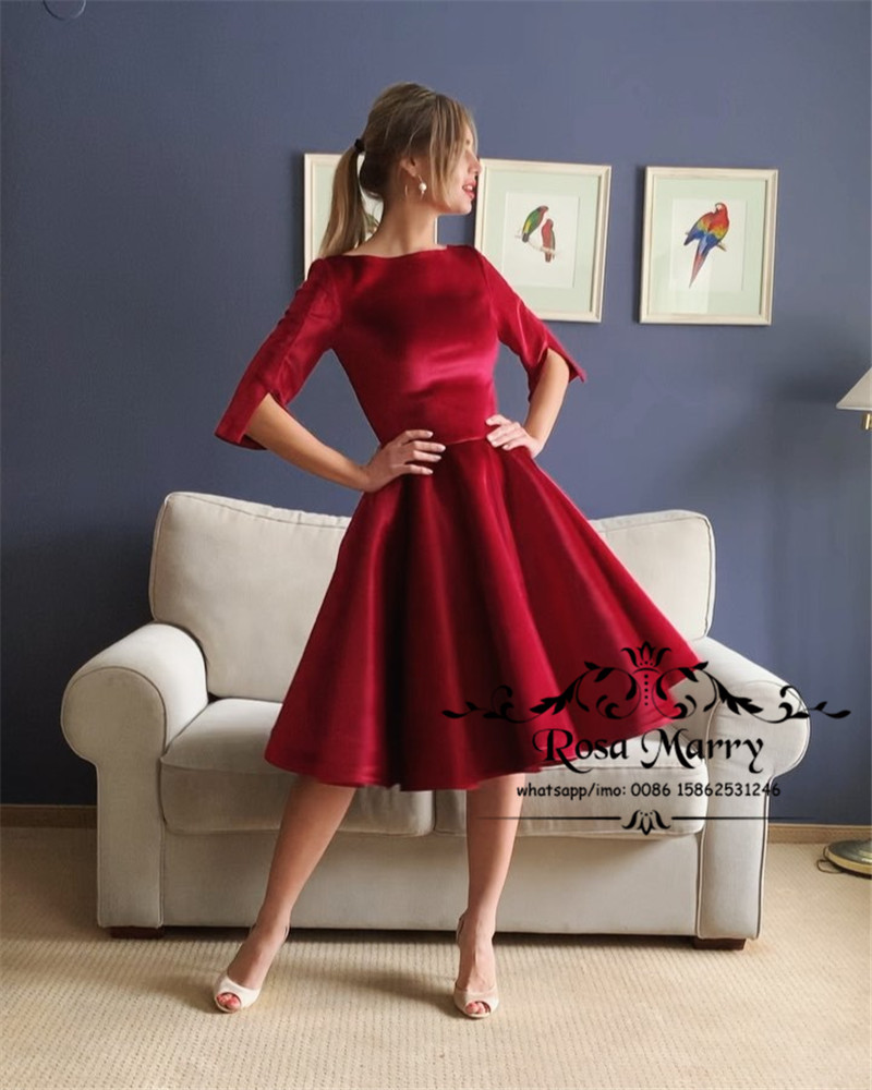 Red Plus Size Short   Prom     Dresses   2020 A Line Long Sleeves Knee Length Simple Cheap Formal Graduation Evening Party Gowns