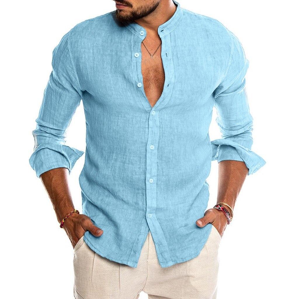 Новинка 2021, мужская повседневная блузка, рубашка из хлопка и льна, свободные топы, футболка с коротким рукавом, весна-осень, Летняя Повседнев...