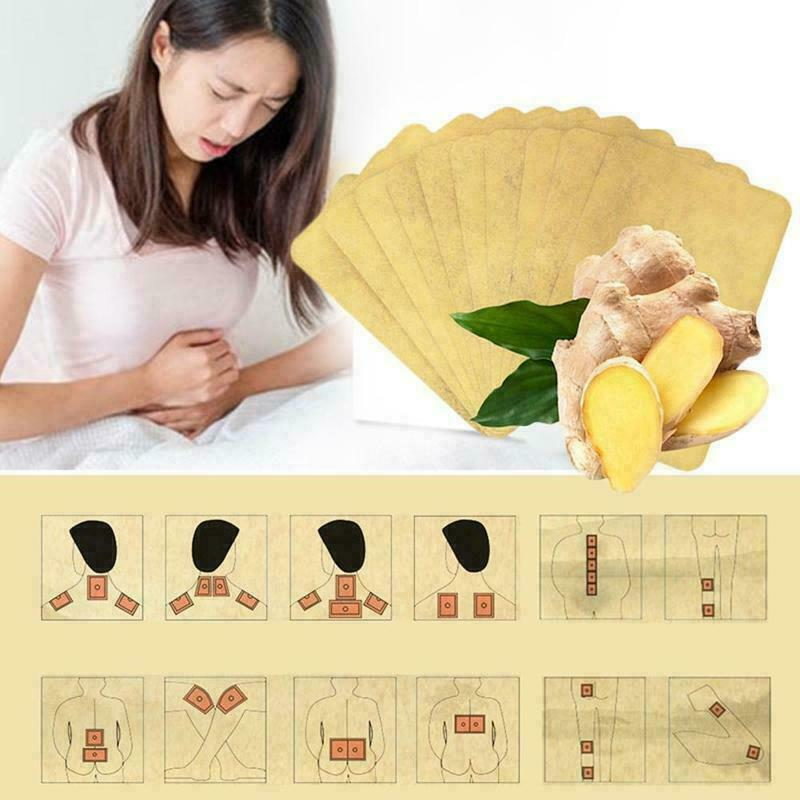 10Pcs Ginger Detox Patch Body Neck Knee Pad Pain Relief Health Care Chinese Ginger Herbal Adhesive Pads Foot Sticker Care TSLM2