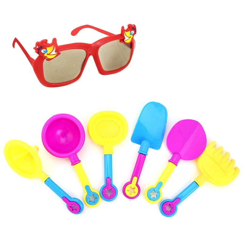 9pcs Kids Sand Beach Toys Castle Bucket Spade Shovel Rake Water Tools Sunglasses Hot Sales
