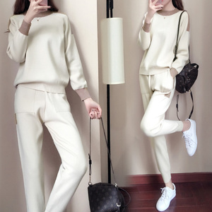Image 2 - Women Winter Woolen And Cashmere Pattern Knitted Warm Suit O Neck Sweater+Pants Tracksuit Two Piece Set Female Sporting Suits