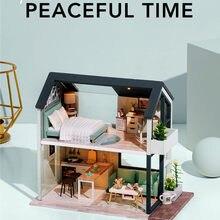 Diy casa de bonecas artesanal 3d miniatura nordic led montagem luz fazendo bonito modelo kit diy adulto crianças presente