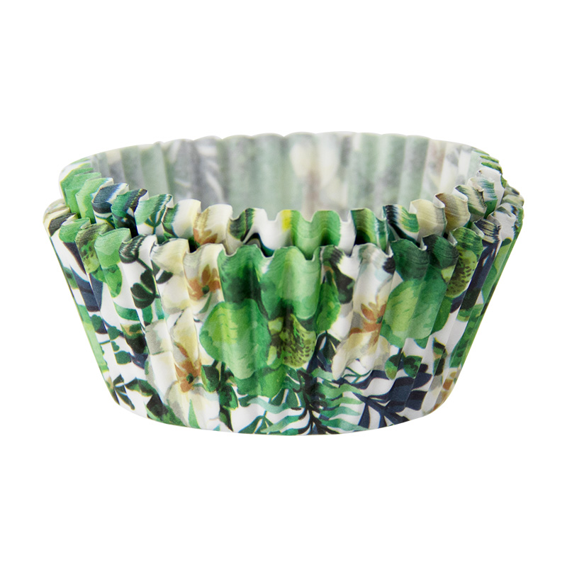 40PCS Green Floral Paper Cake Muffin Moulds Chocolate Cupcake Liner Baking Cup Mold Bowl Birthday Party Wedding DIY