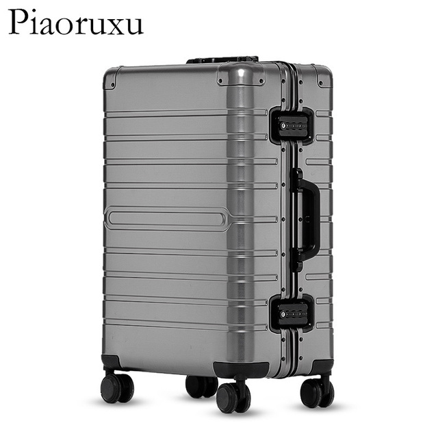 20″24″28″ inch 100% aluminium rolling luggage travel suitcase aluminum spinner trolley bag on wheel