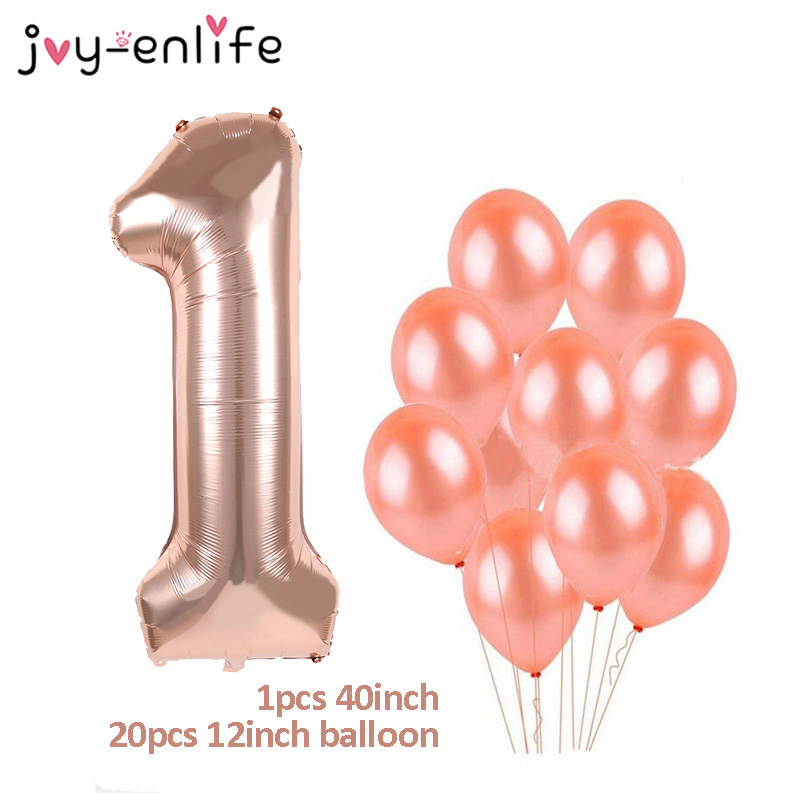 Rose Gold <font><b>Happy</b></font> <font><b>Birthday</b></font> Number Balloons Latex Balloons 1st 18 21 30 40 <font><b>50</b></font> Number Balloon Adult 30 Year Old <font><b>Birthday</b></font> Party Decor image