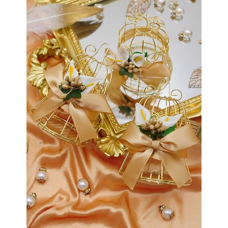 30 pièces doré oiseau Cage cloche boîte à bonbons en fer blanc sacs-cadeaux avec poignées boîtes à chocolat emballage boîte-cadeau fournitures de fête de mariage