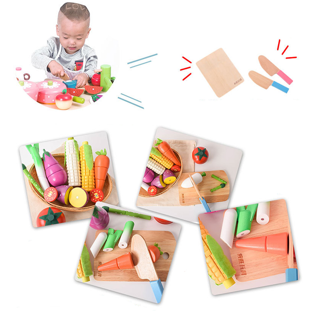 Wooden Kids Classic Simulation Kitchen Toys Cutting Magnetic Fruit And Vegetable Dessert Montessori Education Toys Gifts