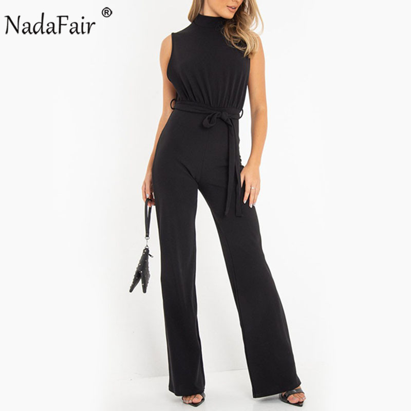 Nadafair Jumpsuit Women Summer Sleeveless Belt Elegant Office Work Black White Jumpsuit Womens Rompers High Waist Casual Pants