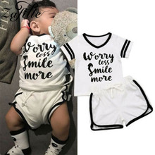 cute baby summer clothing set 2019 new cotton short sleeved striped shirts shorts toddler baby clothes kids outfits sy f192210 ZAFILLE Letter Top+Shorts 2Pcs Baby Girls Clothes Toddler Summer Outfits Short Sleeve Girls Clothing Cotton Infant Kids Clothes