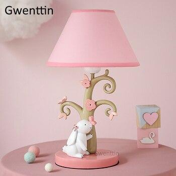 цена на Cartoon Girls Table Lamps Rabbit Lamp Modern Led Stand Desk Light Fixtures for Children Kids Bedroom Bedside Lamp Home Decor E27
