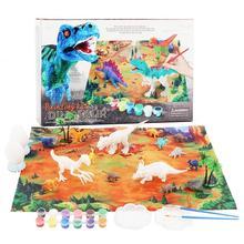 DIY kolorowanie 3D malowanie zwierzę Model dinozaura rysunek Graffiti zestaw zabawek dla dzieci dzieci nietoksyczne farby sztuki dla dzieci dziewcząt chłopców tanie tanio CN (pochodzenie) Tkaniny Painting Kit Unisex Rysunek zabawki zestaw 3 lat