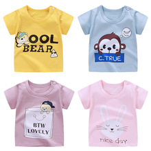 Baby T-Shirt Clothing Girls Boys Casual Short Cartoon Summer Cotton Tops Solid-Color