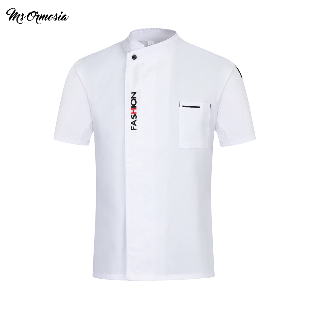 Quality Chef Uniform Chef Jacket Women Men Restaurant Cooking Clothes Short Sleeve Hotel Barbershop Kitchen Cafe Work Clothes