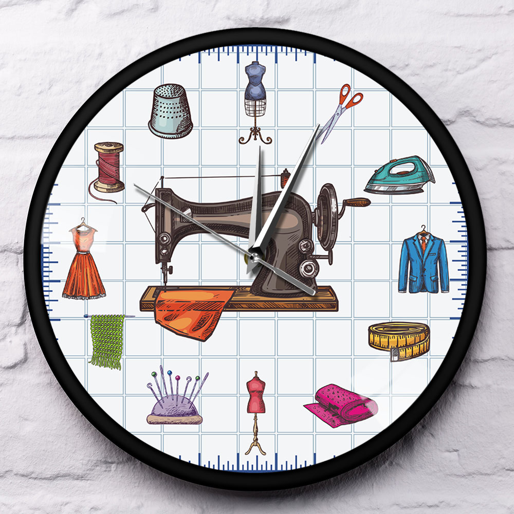 Quilting Clock Vinyl Record Wall Art Sew Decorations Sewing Gifts for Women