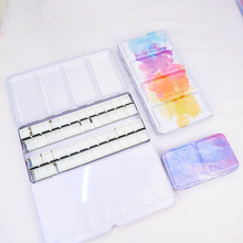 48 Grids Color Palette Painting Storage Iron Tins Paint Tray Box with Half Pans and Full Pans For Watercolor/Oil/ Acrylic Paints