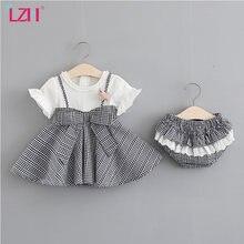 LZH nowy 2021 letnie dziewczynek księżniczka sukienka dla dziewczynek dorywczo sukienka w kratę niemowlę impreza dla dzieci sukienka dzieci noworodka ubrania