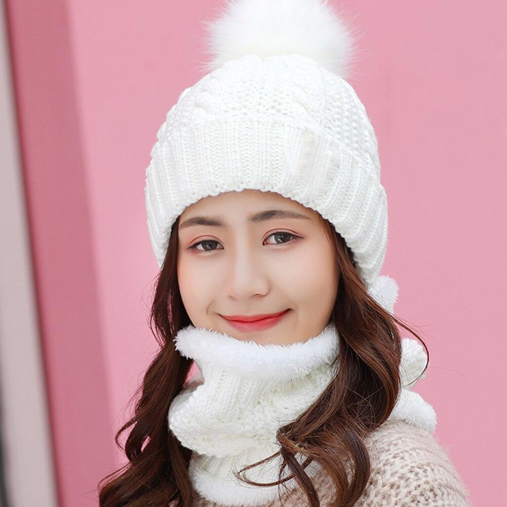 Women Beanie Knitting Winter Keep Warm Ski Cap Shopping Slouchy Faux Fur Fleece Baggy Hat Scarf Set Soft Home
