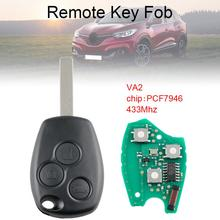433Mhz 3 Buttons Car Remote Key Fob with PCF7946 Chip and VA2  Blade Fit for Renault / Kangoo II / Clio III Auto New 433mhz 2 buttons remote car key with pcf7946 chip and ne73 blade fit for renault new