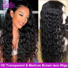 Celie HD-Peluca de encaje transparente, peluca con malla frontal, sin pegamento, larga, frontal, 28 30 pulgadas, Onda de agua