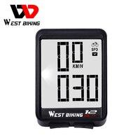 WEST BIKING Bike Computer Wireless Large Screen Bicycle Speedometer With Backlight Waterproof Odometer Bike Stopwatch