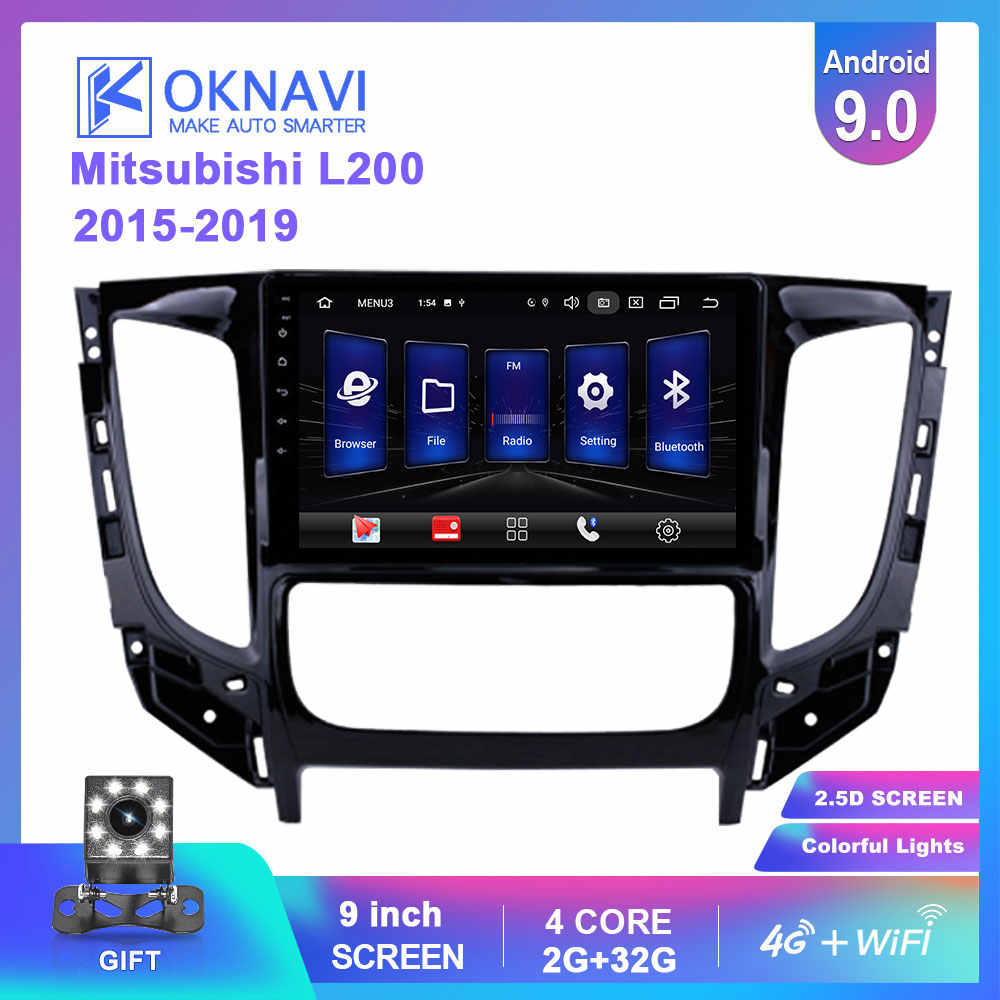 OKNAVI 9 ''2 Din Android 9.0 Car Radio Multimedia Auto untuk Mitsubishi TRITON L200 15-19 4G GPS Navigasi Stereo Video Player