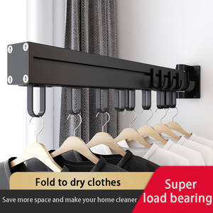 Hanger Drying-Rack Telescopic Wall-Mounted Outdoor Folding And Black Hook Simple