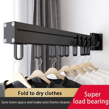 Black Folding Drying Rack Wall Mounted Telescopic Clothes Rack Indoor And Outdoor Simple Clothes Hanger Clothes Hook Clothesline