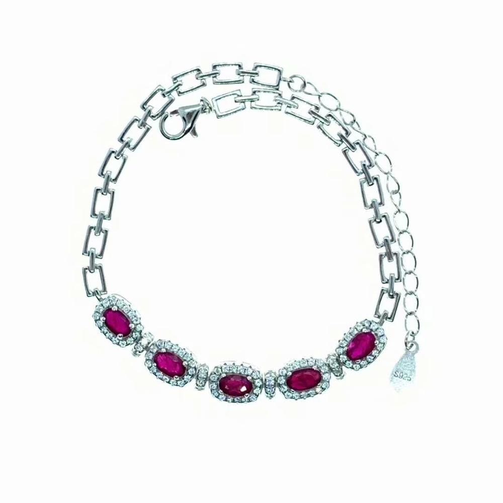 shilovem 925 sterling silver real natural Ruby Bracelets fine Jewelry trendy women party new plant 3 5mm dl0305184agh in Bracelets Bangles from Jewelry Accessories