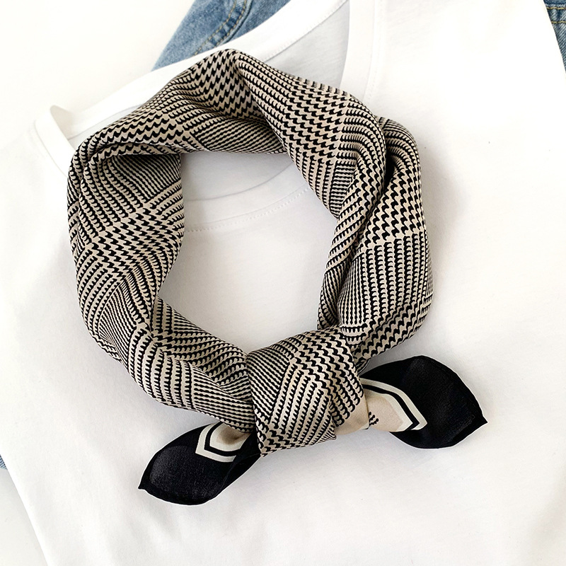 KOI LEAPING New Fashion 100% Silk Houndstooth Scarf For Ladies Houndstoot Printing Scarf Headscarf Variety Professional Shawl