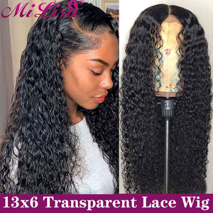 Curly Lace Front Human Hair Wigs 13X6 Transparent HD Lace Frontal Wigs 30 Inch Mi Lisa Hair Malaysian Remy 4x4 Lace Closure Wigs(China)