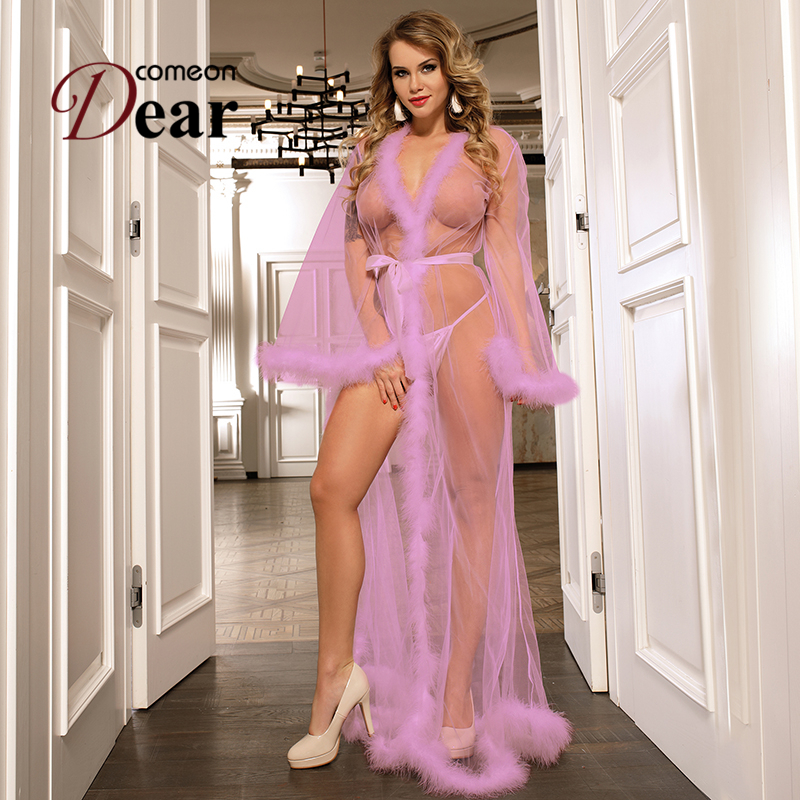 Comeondear Long Night Gowns And Robes For Women Queen Perspective Sheer Sexy Women Babydoll Lingerie Nightgown Dress RB80759P