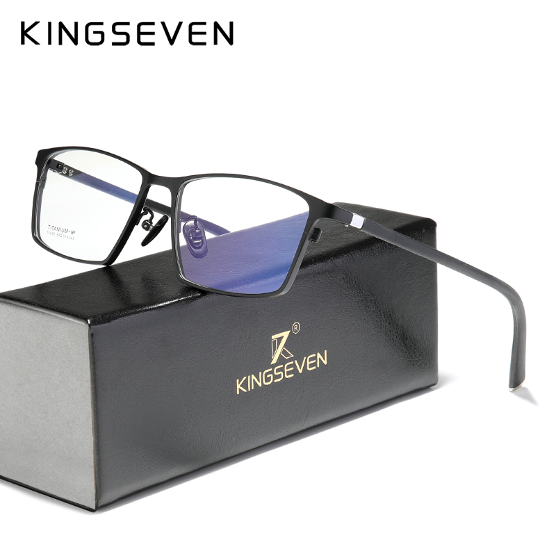 KINGSEVEN Pure Titanium Glasses Frame Men Square Prescription Eyeglasses Eyewear Vintage Myopia Optical Lenses For Men Women