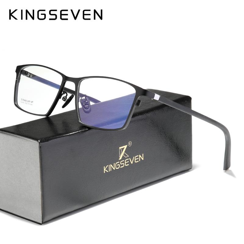 KINGSEVEN Pure Titanium Glasses Frame Men Square Prescription Eyeglasses Eyewear Vintage Myopia Optical Lenses For Men Women