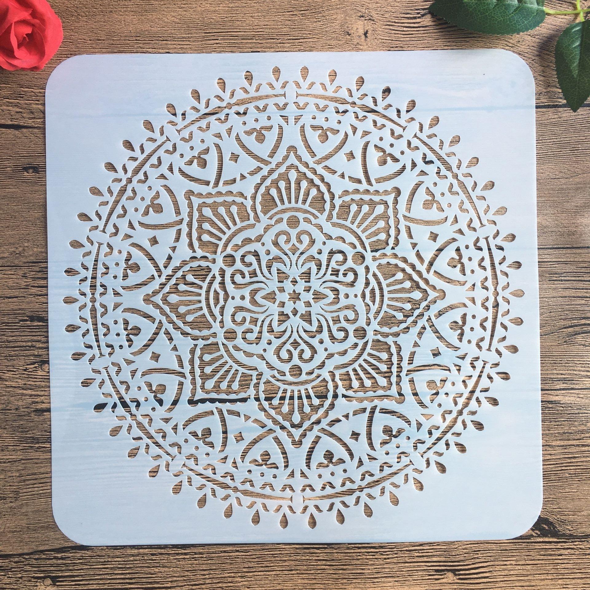 30 * 30 Cm Large Round Flower Mandala Diy Stencil Painting Scrapbook Coloring Engraving Album Decoration Template Stencil -e