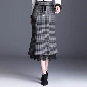 Midi Skirt Lace Wool Slim Elegant Vintage Office-Clothes Patchwork Plaid High-Waist Lacintg