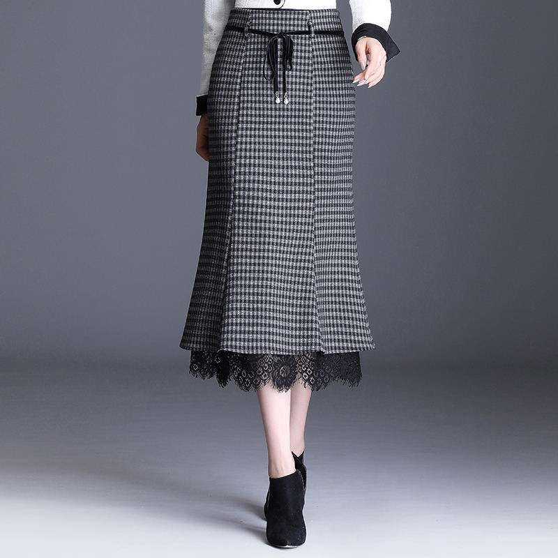 Elegant Vintage Plaid Wool Skirts Womens Lace Patchwork High Waist Mermaid Skirt Female Slim Office Clothes Lacintg Midi Skirt